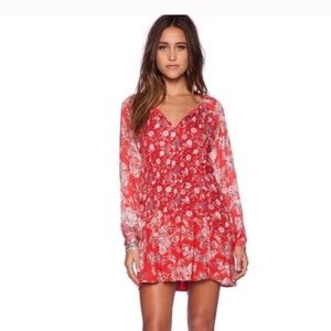 Free People Red Boho Lucky Loosey Dress